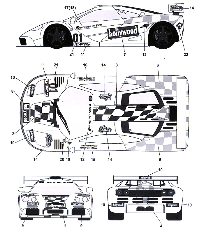マクラーレン F1-GTR Hollywood #01 4Hours Brasilia 1996デカール(タブデザイン1/24 デカールNo.TABU-24048)商品画像_2
