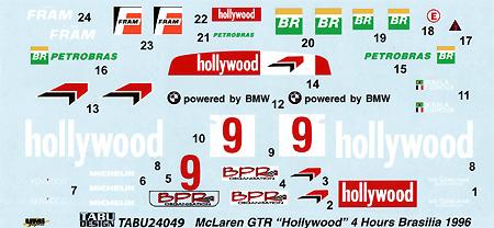 マクラーレン F1-GTR Hollywood #09 4Hours Brasilia 1996デカール(タブデザイン1/24 デカールNo.TABU-24049)商品画像