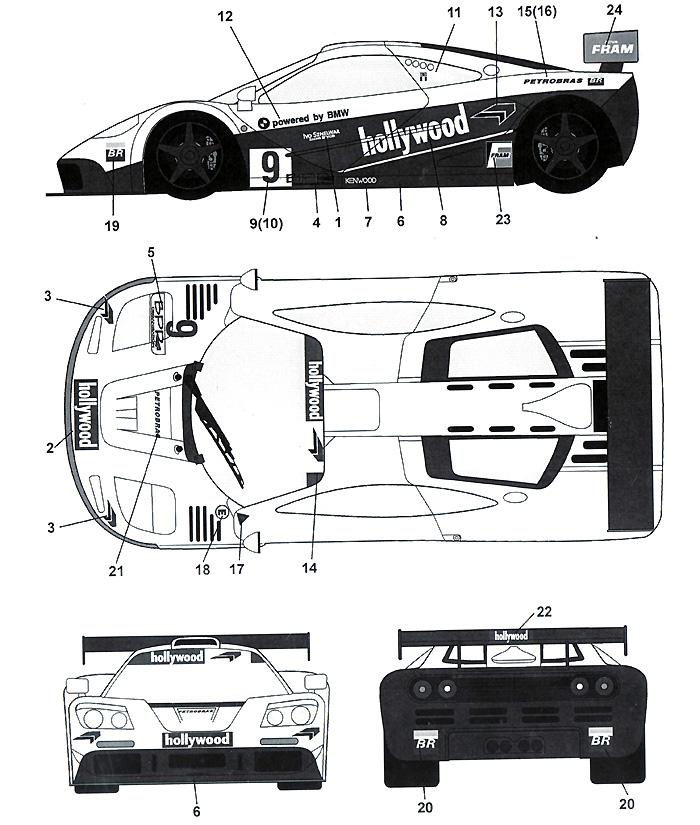 マクラーレン F1-GTR Hollywood #09 4Hours Brasilia 1996デカール(タブデザイン1/24 デカールNo.TABU-24049)商品画像_2