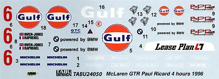 マクラーレン F1-GTR Gulf white #6 Paul Ricard 4Hours 1996デカール(タブデザイン1/24 デカールNo.TABU-24050)商品画像