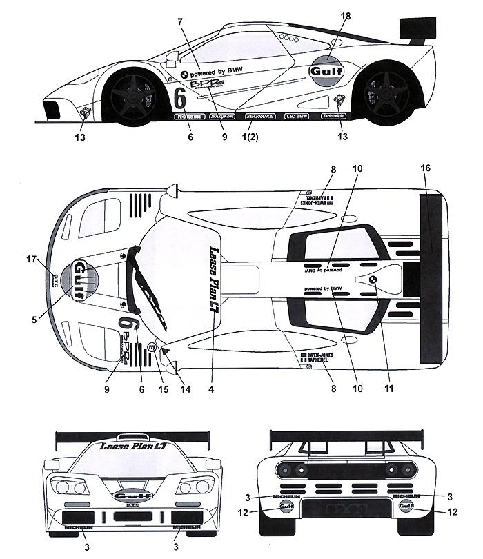 マクラーレン F1-GTR Gulf white #6 Paul Ricard 4Hours 1996デカール(タブデザイン1/24 デカールNo.TABU-24050)商品画像_2