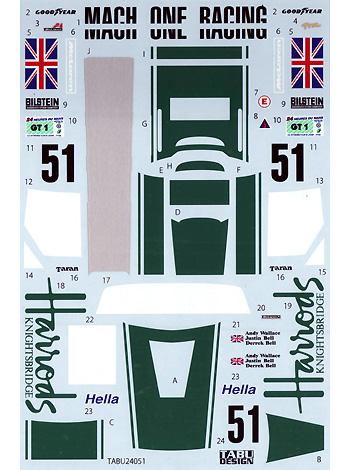 マクラーレン F1-GTR HARRODS #9 ルマン 1995デカール(タブデザイン1/24 デカールNo.TABU-24051)商品画像