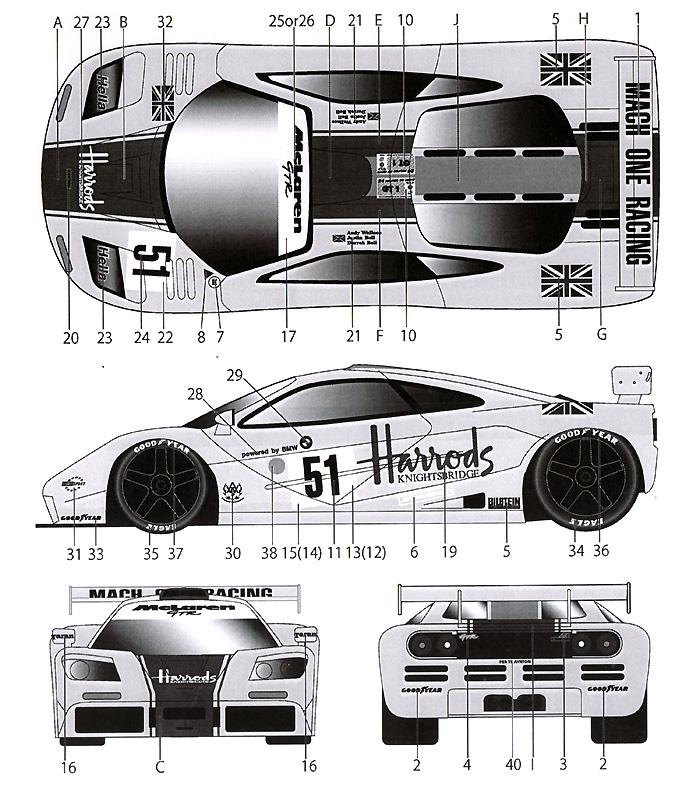 マクラーレン F1-GTR HARRODS #9 ルマン 1995デカール(タブデザイン1/24 デカールNo.TABU-24051)商品画像_2