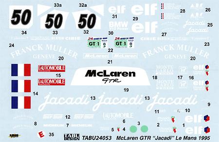 マクラーレン F1-GTR ジャカディ #50 ルマン 1995デカール(タブデザイン1/24 デカールNo.TABU-24053)商品画像