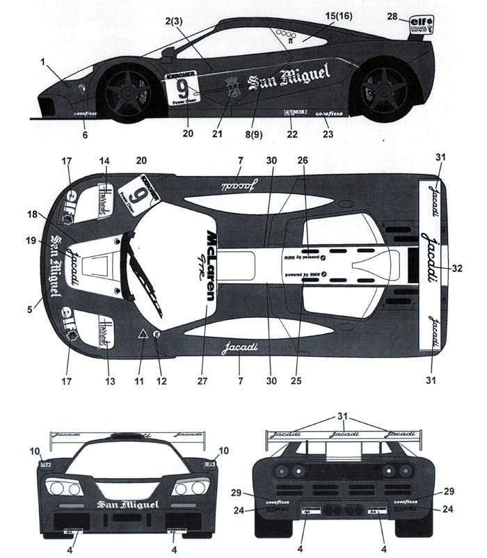 マクラーレン F1-GTR Sun Miguel #9 珠海 3hour 1995デカール(タブデザイン1/24 デカールNo.TABU-24054)商品画像_2