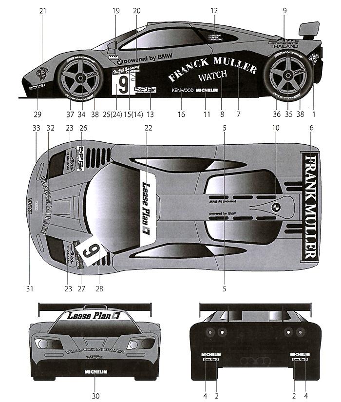 マクラーレン F1-GTR FRANCK MULLER #09 SUZUKA 1996デカール(タブデザイン1/24 デカールNo.TABU-24047)商品画像_2