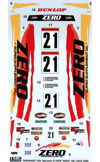 マクラーレン F1-GTR ZERO #21 JGTC 2000デカール(タブデザイン1/24 デカールNo.TABU-24057)商品画像