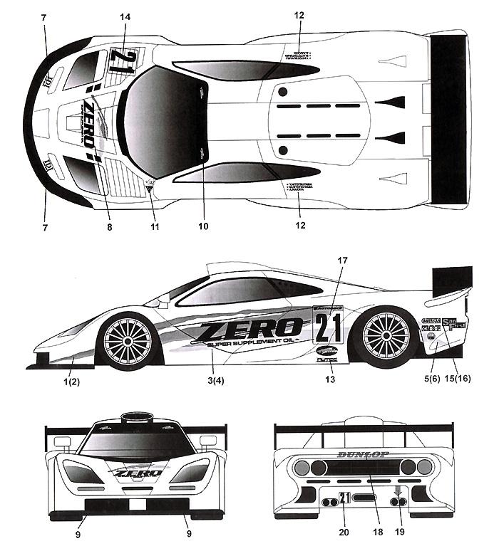 マクラーレン F1-GTR ZERO #21 JGTC 2000デカール(タブデザイン1/24 デカールNo.TABU-24057)商品画像_2