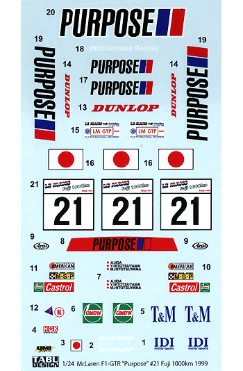 マクラーレン F1-GTR Purpose #21 Fuji 1000km 1999デカール(タブデザイン1/24 デカールNo.TABU-24058)商品画像