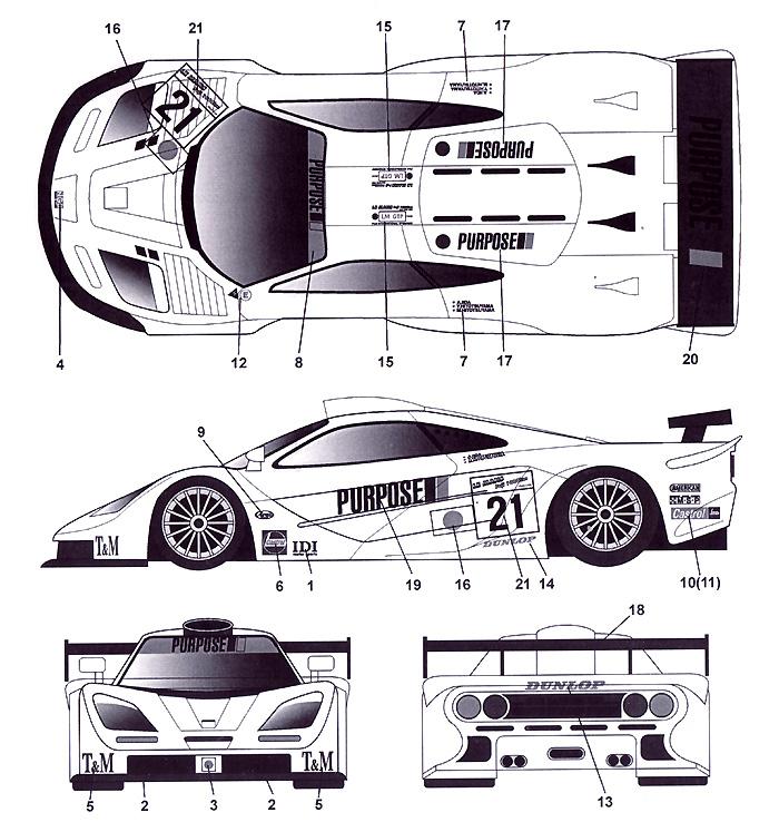 マクラーレン F1-GTR Purpose #21 Fuji 1000km 1999デカール(タブデザイン1/24 デカールNo.TABU-24058)商品画像_2