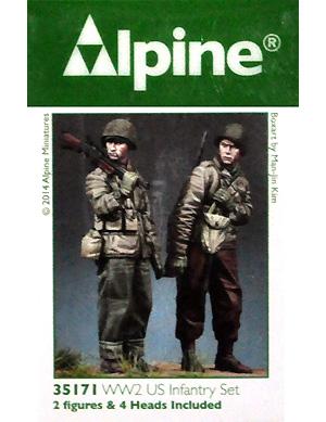 WW2 アメリカ軍 BAR & 歩兵 (2体セット)レジン(アルパイン1/35 フィギュアNo.AM35171)商品画像
