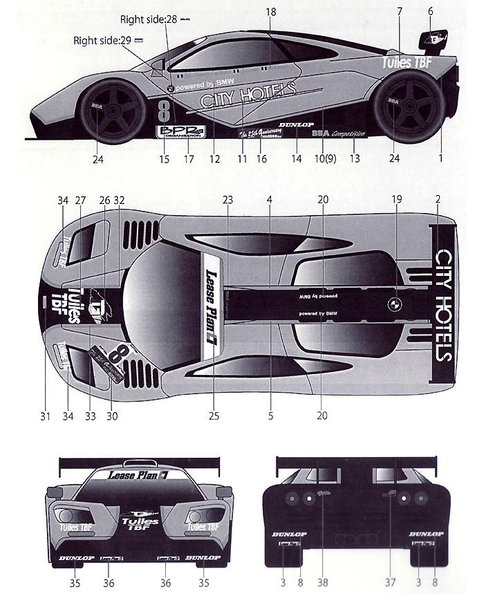 マクラーレン F1-GTR TBF #8 鈴鹿 1996デカール(タブデザイン1/24 デカールNo.TABU-24052)商品画像_2