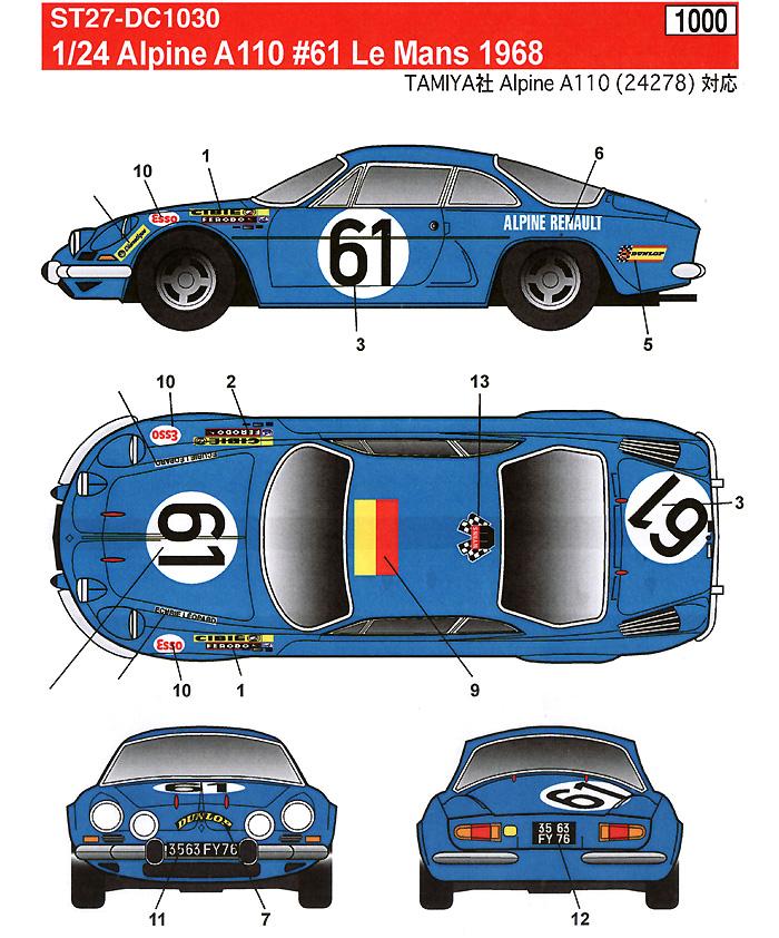 アルピーヌ・ルノー A110 #61 ル・マン 1968デカール(スタジオ27ツーリングカー/GTカー オリジナルデカールNo.DC1030)商品画像_2