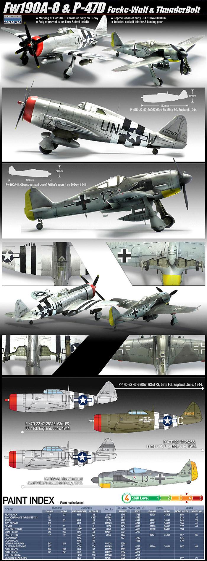 Fw190A-8 & P-47D ノルマンディー上陸作戦 70周年セットプラモデル(アカデミー1/72 Scale AircraftsNo.12513)商品画像_2