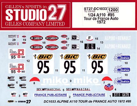 アルピーヌ ルノー A110 #95 ツール ド フランス オート 1972 デカールデカール(スタジオ27ラリーカー オリジナルデカールNo.DC1033)商品画像