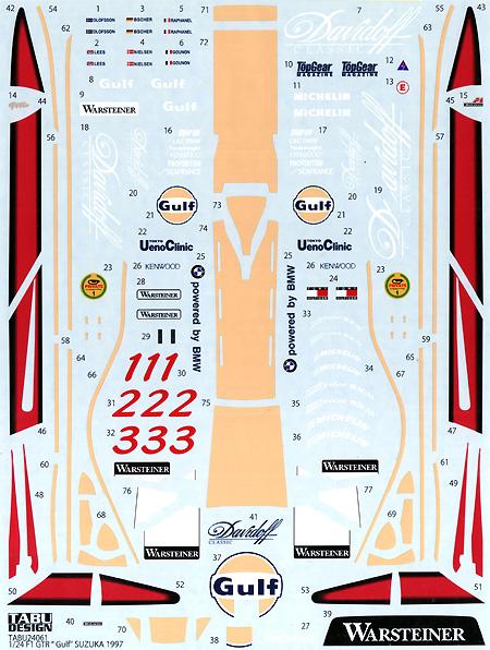 マクラーレン F1 GTR Gulf SUZUKA 1997デカール(タブデザイン1/24 デカールNo.TABU-24061)商品画像