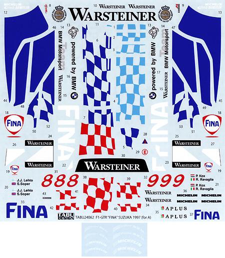 マクラーレン F1 GTR FINA SUZUKA 1997デカール(タブデザイン1/24 デカールNo.TABU-24062)商品画像