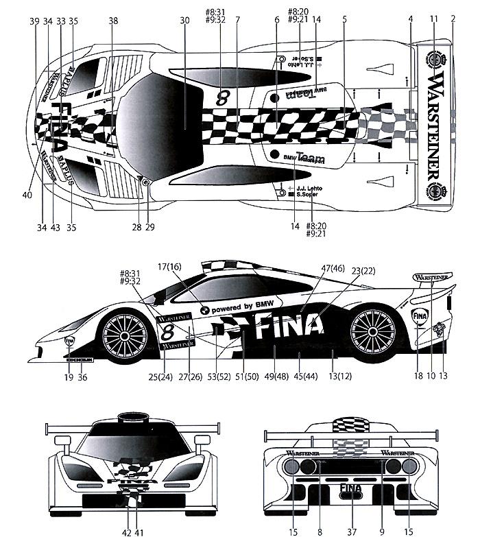 マクラーレン F1 GTR FINA SUZUKA 1997デカール(タブデザイン1/24 デカールNo.TABU-24062)商品画像_1