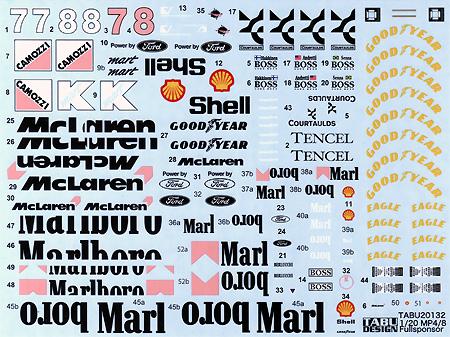 マクラーレン MP4/8 フルスポンサーデカールデカール(タブデザイン1/20 デカールNo.TABU-20132)商品画像