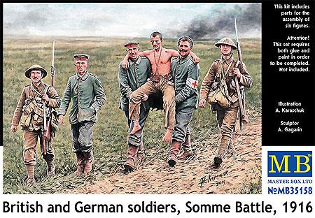 WW1 イギリス兵 & ドイツ兵 負傷兵搬送 ソンム戦 1916年プラモデル(マスターボックス1/35 ミリタリーミニチュアNo.MB35158)商品画像