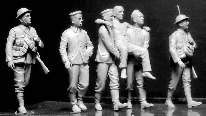 WW1 イギリス兵 & ドイツ兵 負傷兵搬送 ソンム戦 1916年プラモデル(マスターボックス1/35 ミリタリーミニチュアNo.MB35158)商品画像_4