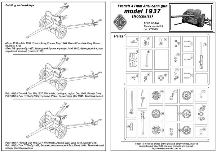 フランス 47mm SA mle.1937 対戦車砲プラモデル(エース1/72 ミリタリーNo.72529)商品画像_2