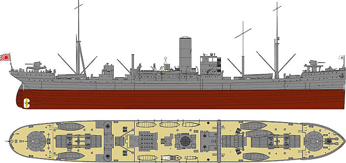 日本海軍 給糧艦 間宮 1944 (最終時)プラモデル(ピットロード1/700 スカイウェーブ W シリーズNo.W166)商品画像_1