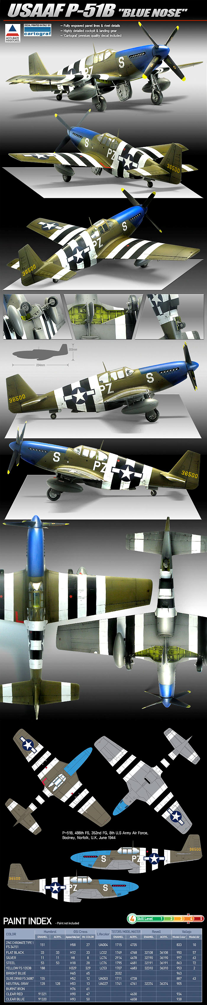 USAAF P-51B マスタング BLUE NOSEプラモデル(アカデミー1/48 Scale AircraftsNo.12303)商品画像_2