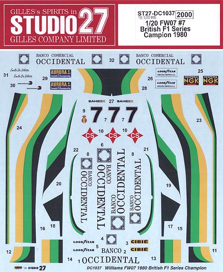 ウィリアムズ FW07 #7 ブリティッシュ F1 シリーズ チャンピオン 1980デカール(スタジオ27F-1 オリジナルデカールNo.DC1037)商品画像