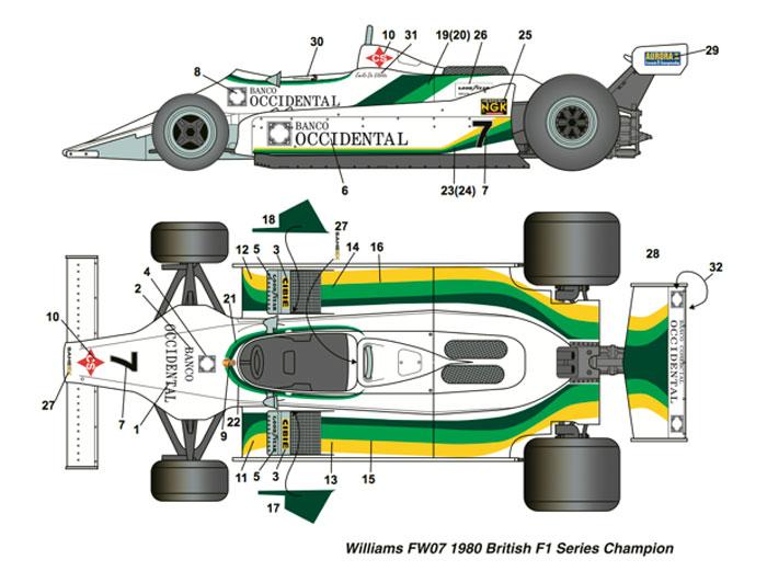 ウィリアムズ FW07 #7 ブリティッシュ F1 シリーズ チャンピオン 1980デカール(スタジオ27F-1 オリジナルデカールNo.DC1037)商品画像_1