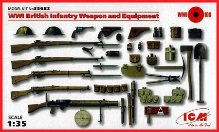 WW1 イギリス歩兵 ウェポン & 装備プラモデル(ICM1/35 ミリタリービークル・フィギュアNo.35683)商品画像