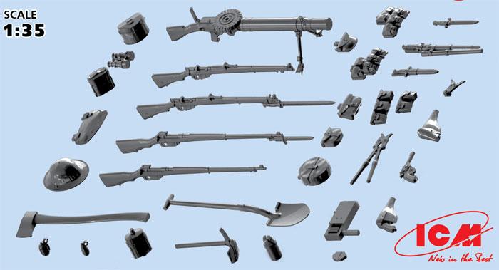 WW1 イギリス歩兵 ウェポン & 装備プラモデル(ICM1/35 ミリタリービークル・フィギュアNo.35683)商品画像_3