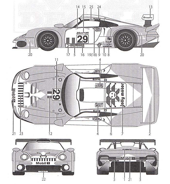 ポルシェ 911 GT1 #29 ルマン 1997デカール(MZデカールミニッツレーサー対応 オリジナルデカールNo.MZ0035)商品画像_1