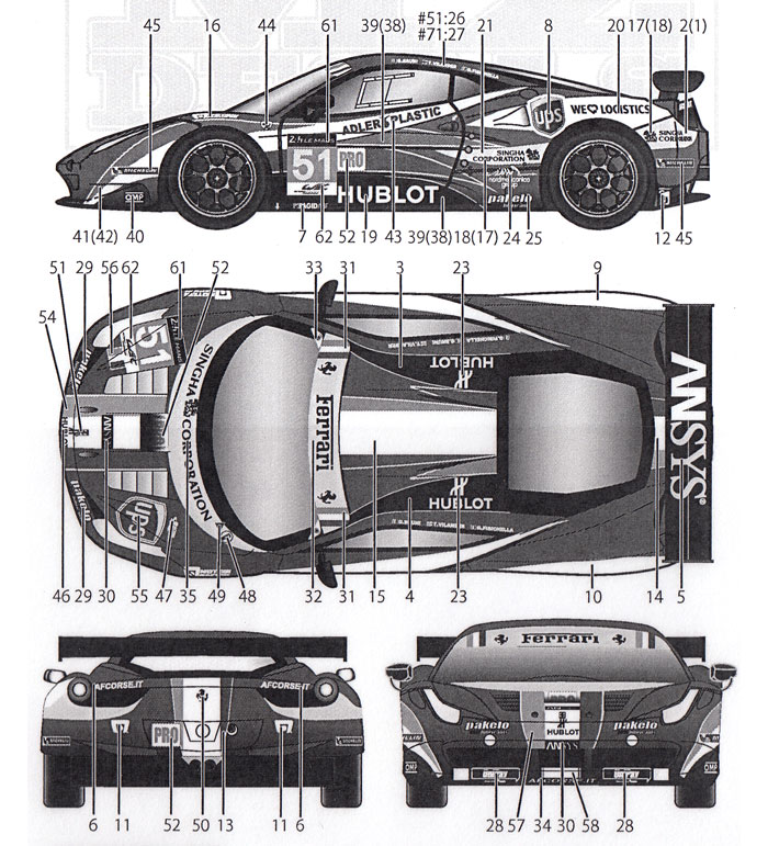 フェラーリ 458 AF CORSE #51/#71 ルマン 2014 用 デカールデカール(MZデカールミニッツレーサー対応 オリジナルデカールNo.MZ0036)商品画像_1