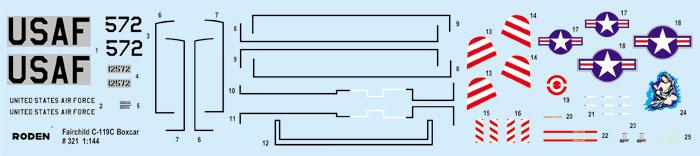 フェアチャイルド C-119C ボックスカープラモデル(ローデン1/144 エアクラフトNo.321)商品画像_1