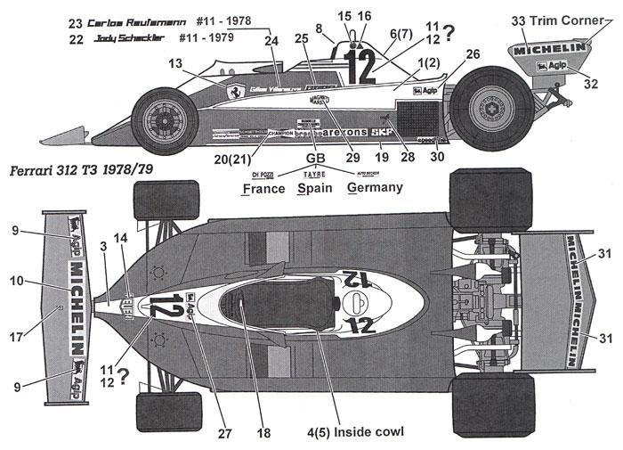 フェラーリ 312T3 1978/1979 デカールデカール(タブデザイン1/20 デカールNo.TABU-20133)商品画像_1