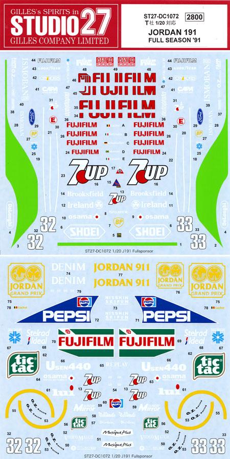 ジョーダン 191 フルシーズン 1991 デカールデカール(スタジオ27F-1 オリジナルデカールNo.DC1072)商品画像