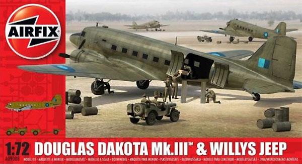 ダグラス ダコタ Mk.3 & ウィリス ジーププラモデル(エアフィックス1/72 ミリタリーエアクラフトNo.A09008)商品画像