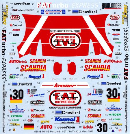 ポルシェ 911 GT1 FAT #30 ル・マン 1997デカール(MZデカールミニッツレーサー対応 オリジナルデカールNo.MZ0038)商品画像