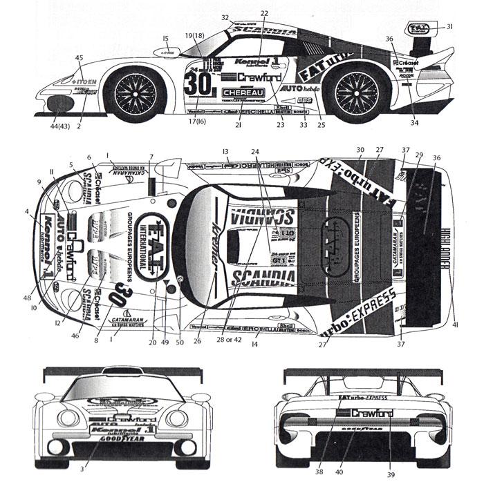 ポルシェ 911 GT1 FAT #30 ル・マン 1997デカール(MZデカールミニッツレーサー対応 オリジナルデカールNo.MZ0038)商品画像_1