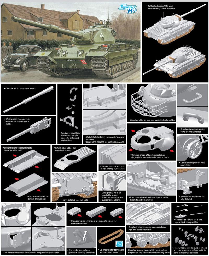 イギリス陸軍 FV214 コンカラー 重戦車プラモデル(ドラゴン1/35 BLACK LABELNo.3555)商品画像_2