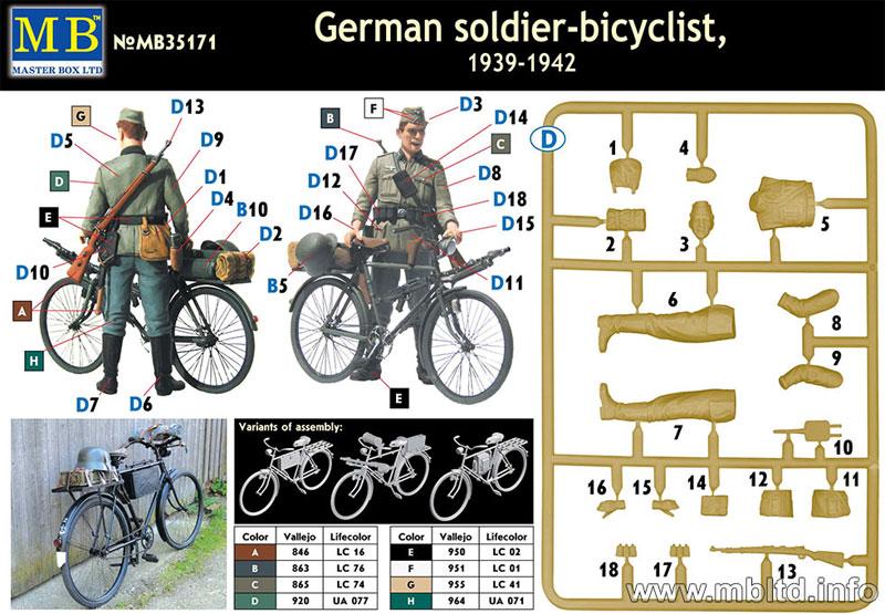 ドイツ歩兵 + 軍用自転車 (1939-42年)プラモデル(マスターボックス1/35 ミリタリーミニチュアNo.MB35171)商品画像_1