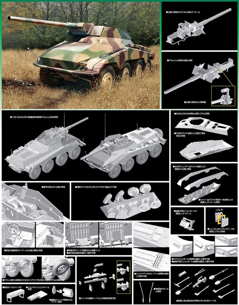 Sd.Kfz.234/4 7.5cm L/48 8輪重装甲偵察車プラモデル(ドラゴン1/35 '39-'45 SeriesNo.6814)商品画像_2