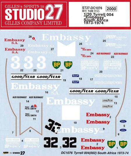 ティレル 004 Embassy 南アフリカ 1973-1974デカール(スタジオ27F-1 オリジナルデカールNo.DC1076)商品画像