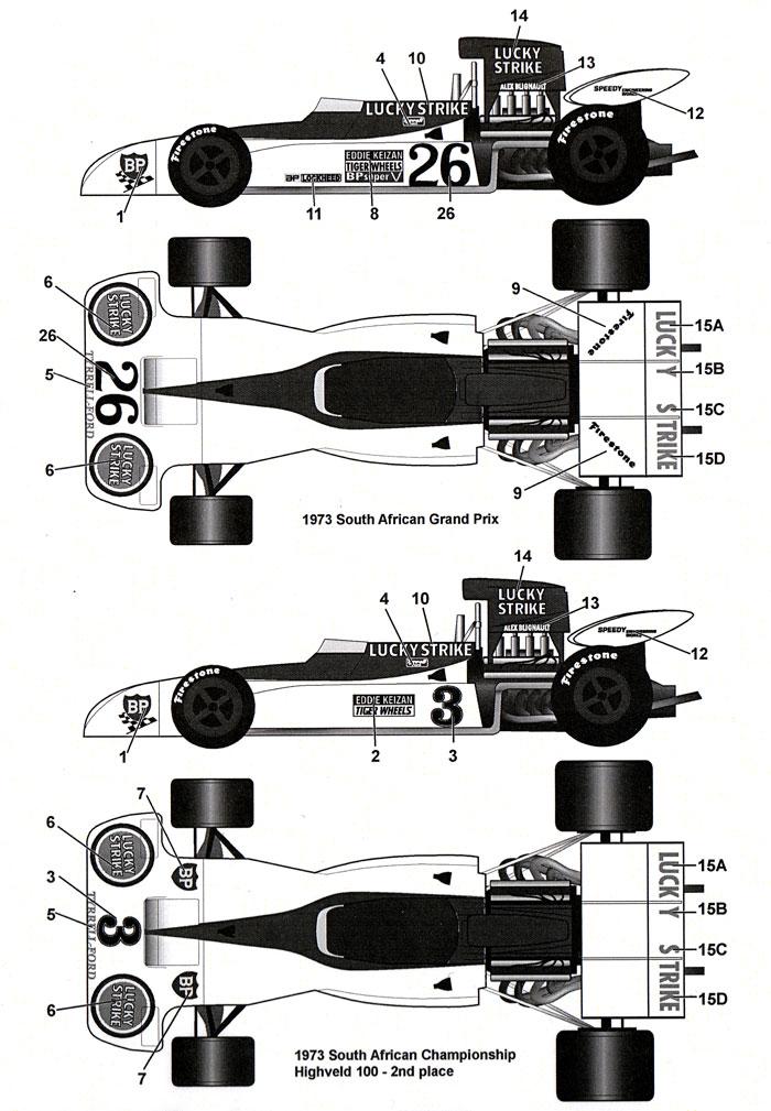 ティレル 004 LS 南アフリカ 1973デカール(タブデザイン1/24 デカールNo.TABU-20139)商品画像_1