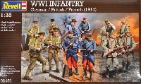 レベル1/35 ミリタリーWW1 ドイツ、イギリス、フランス歩兵セット