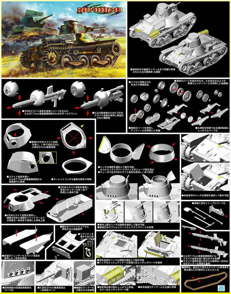 日本帝国陸軍 九五式軽戦車 ハ号 北満型 アルミ製砲身付属プラモデル(サイバーホビー1/35 AFV シリーズ ('39~'45 シリーズ)No.SP-095)商品画像_3