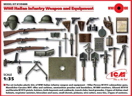 イタリア歩兵 ウェポン & 装備セットプラモデル(ICM1/35 ミリタリービークル・フィギュアNo.35686)商品画像