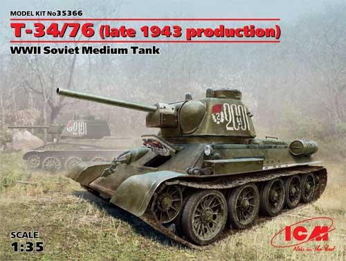 T-34/76 1943年 後期型プラモデル(ICM1/35 ミリタリービークル・フィギュアNo.35366)商品画像