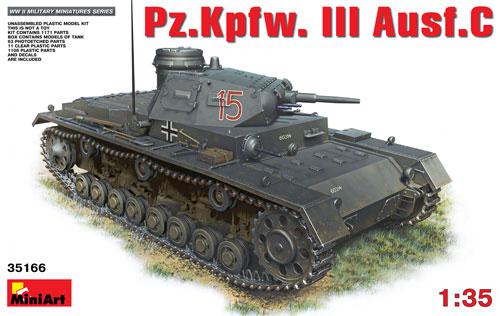3号戦車 C型プラモデル(ミニアート1/35 WW2 ミリタリーミニチュアNo.35166)商品画像